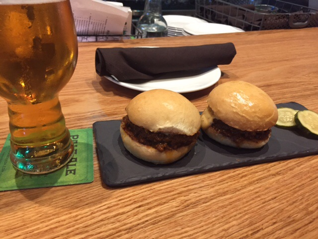 Bison sliders with Hop Hunter cheese